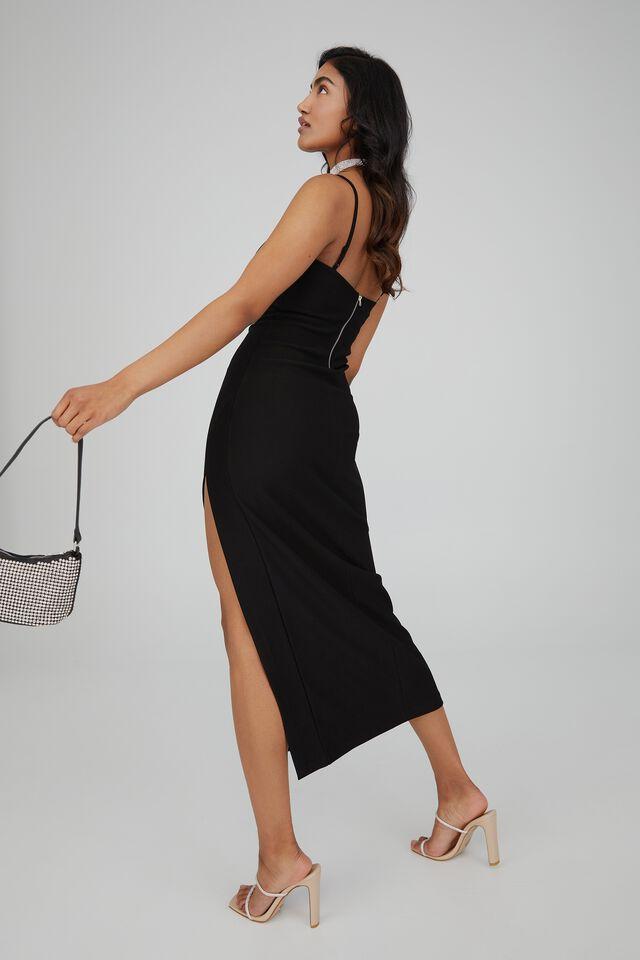 Lena Low Back Formal Dress, BLACK
