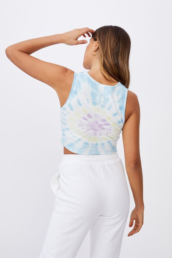Baxley High Neck Tank, CIRCLE TIE DYE (BRGHT.BL/BANANA YLLW/ORCHD RS)