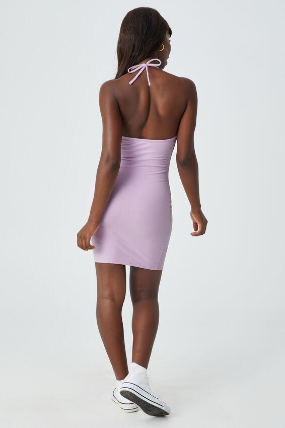 Uma Halter Mini Dress, LILAC BLUSH