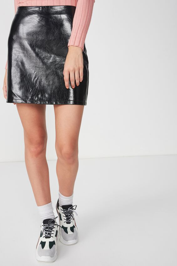 Faux Leather A-Line Skirt, BLACK HI SHINE