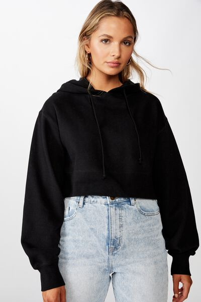 Gracie Hooded Crop Sweat, BLACK