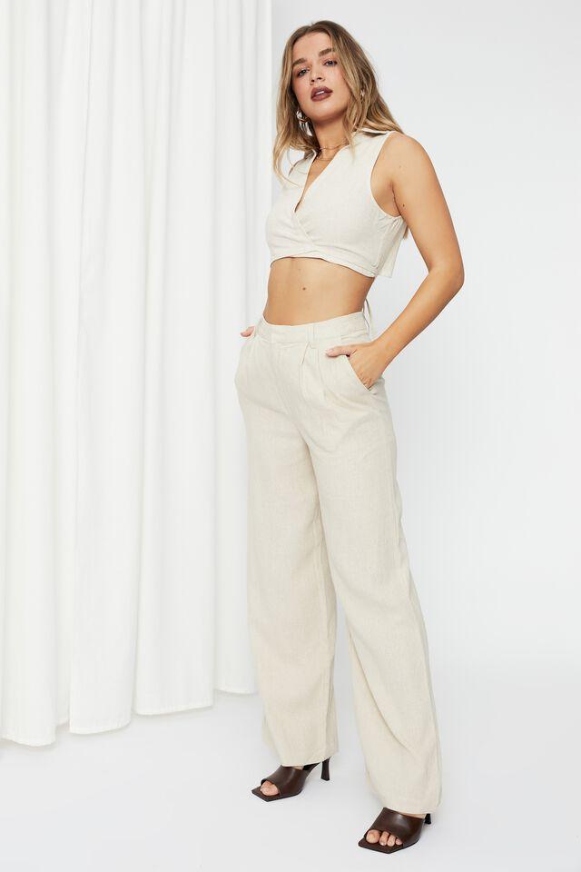 Kendall Wide Leg Pant, NATURAL