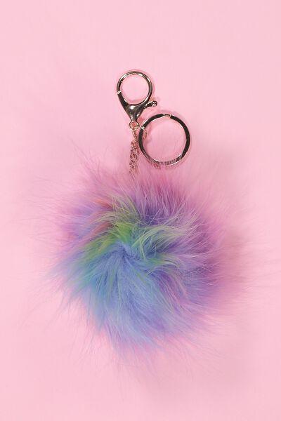 Rainbow Faux Fur Keyring, MULTI PASTEL