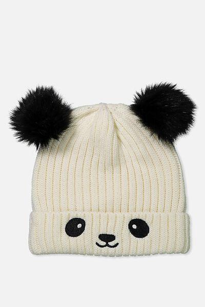 Novelty Faux Fur Knitted Beanie, PANDA
