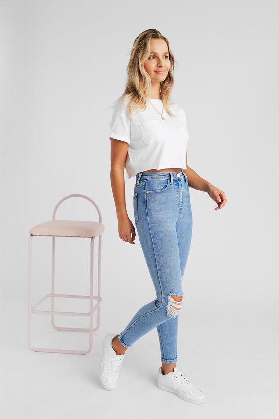 Long Leg Skinny Premium High Rise Ripped Jean, SPLASH BLUE