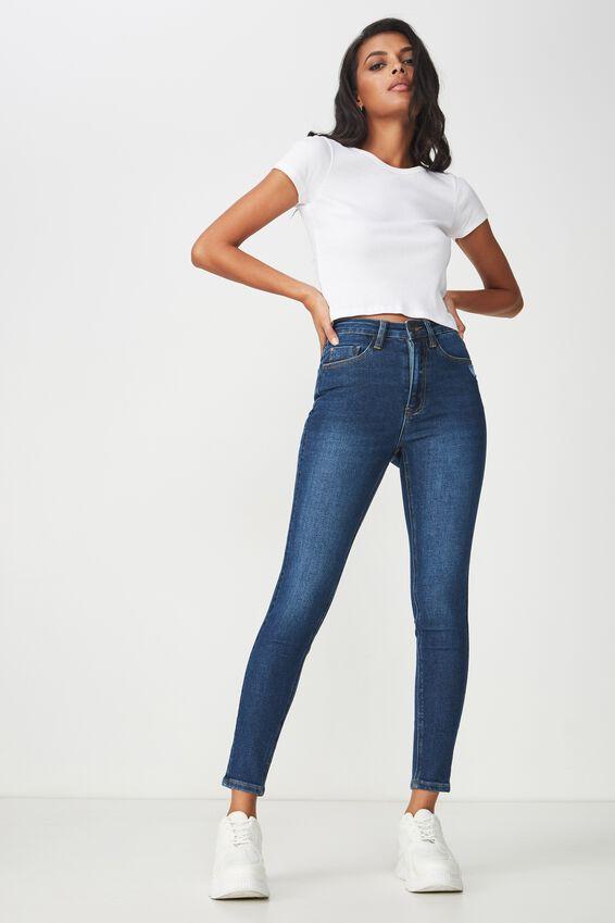 Skinny Premium Ankle Grazer Jean, LAGOON BLUE