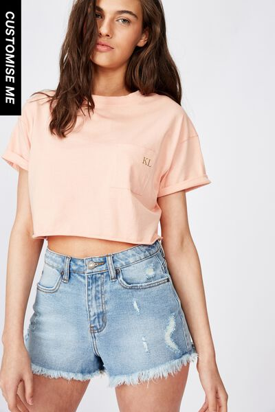 Customised Ciara Crop Tee, PEACH BLUSH
