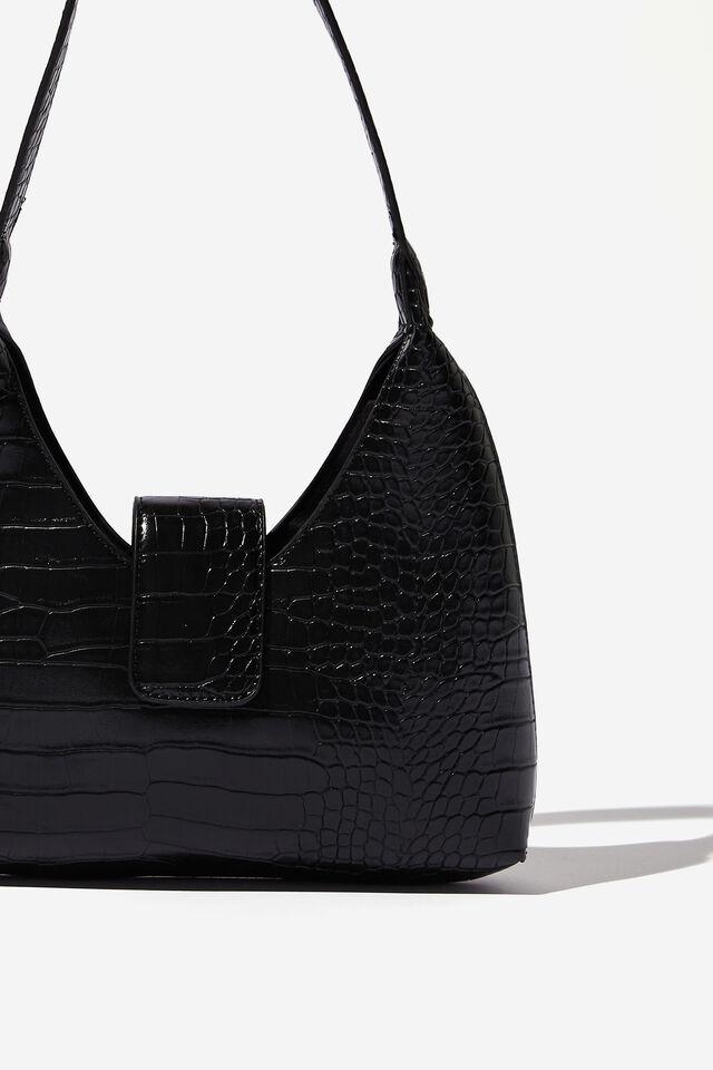 Enya Moon Shoulder Bag, BLACK CROC SHINY