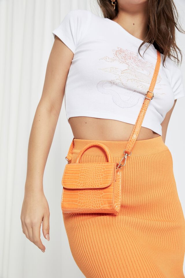 Tiana Small Bag, SUNRISE ORANGE CROC SHINY