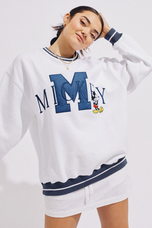Mickey Initial Oversized Jumper, WHITE/ LCN DIS MICKEY