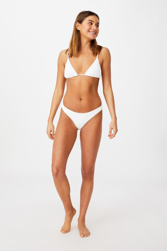 Honolulu High Cut Bikini Bottom, WHITE/SHIRRED