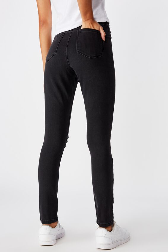 Short Super Skinny Ripped Jean, WASHED BLACK