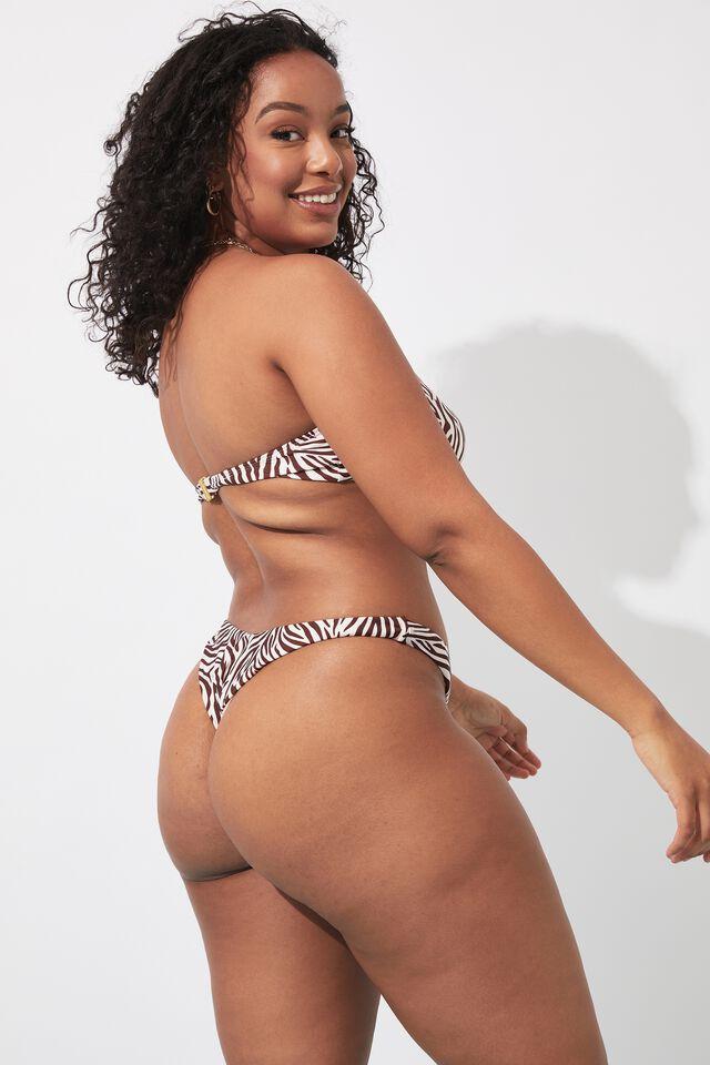 Ashleigh Ring Bikini Top, TIA ZEBRA COCOA BUTTER