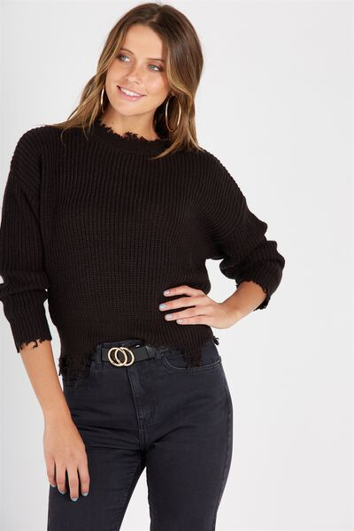 Riley Distressed Knit Top, BLACK