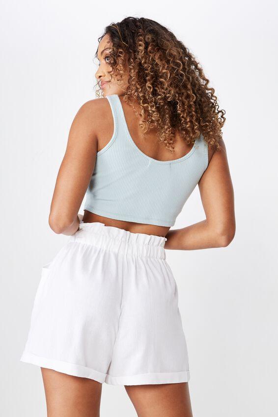 Lottie Linen Paperbag Waist Short, WHITE