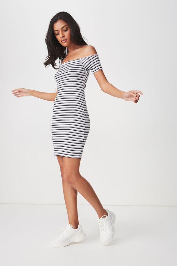 Rib Off The Shoulder Mini Dress, HARLEY STRIPE
