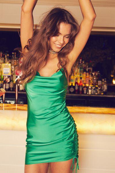Peggie Cowl Ruched Mini Dress, TROPIC GREEN