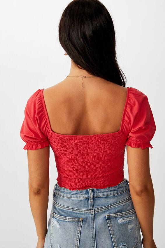 Shirred Puff Sleeve Top, CANDY RED