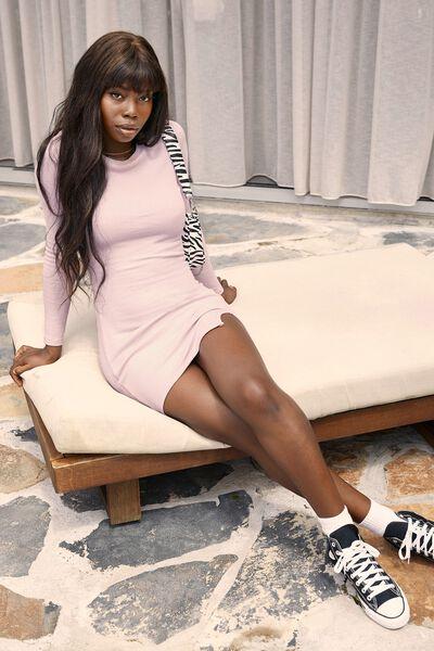 Laila Long Sleeve Mini Dress, PALE JASMINE