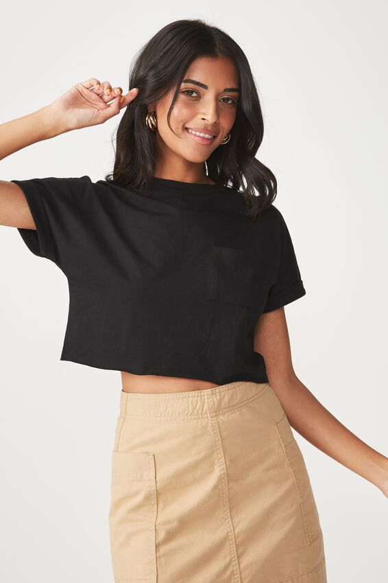 Kerry Pocket Crop Tee, BLACK