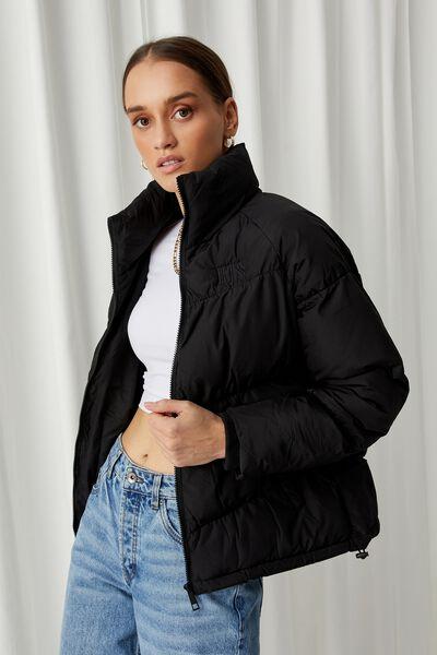 Personalised Jane Puffer Jacket - Black, BLACK