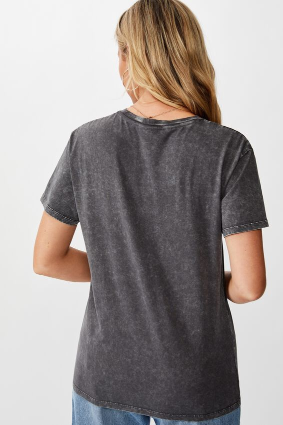 Lola Printed Longline Tee, VINTAGE WASHED GRANITE GREY/BIKER