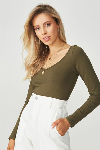 Basic Long Sleeve Longline Deep V Neck Top, OLIVE NIGHT