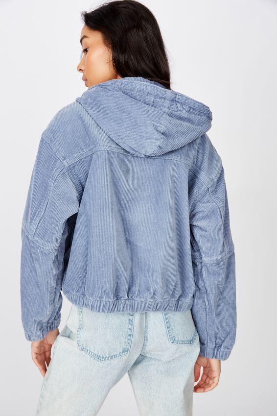 Cord Slouch Hooded Jacket, DUSK SKY BLUE