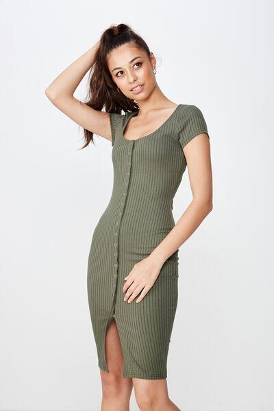 Leona Snap Button Midi Dress, OLIVE KHAKI