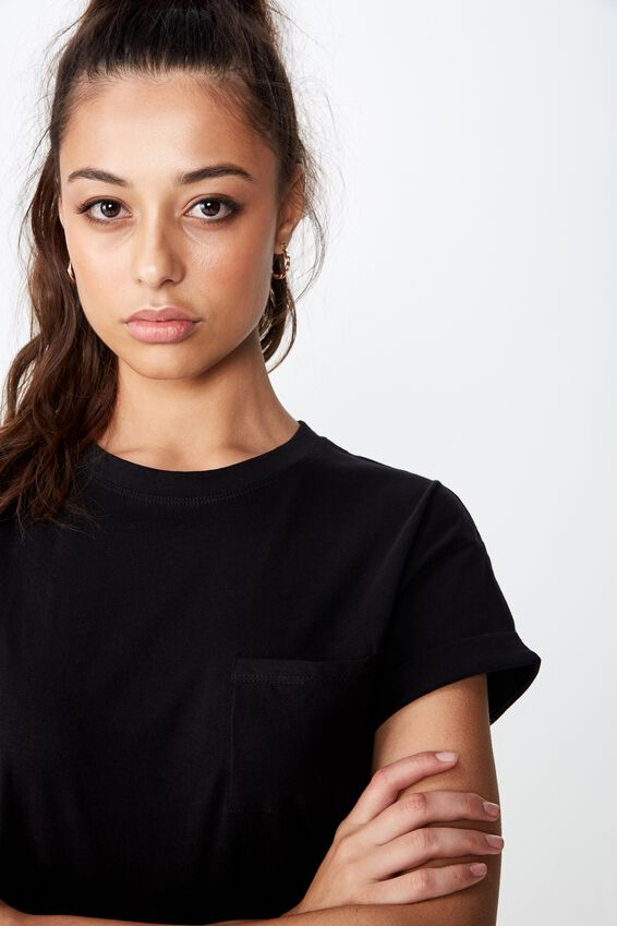 Ciara Crop Tee, BLACK