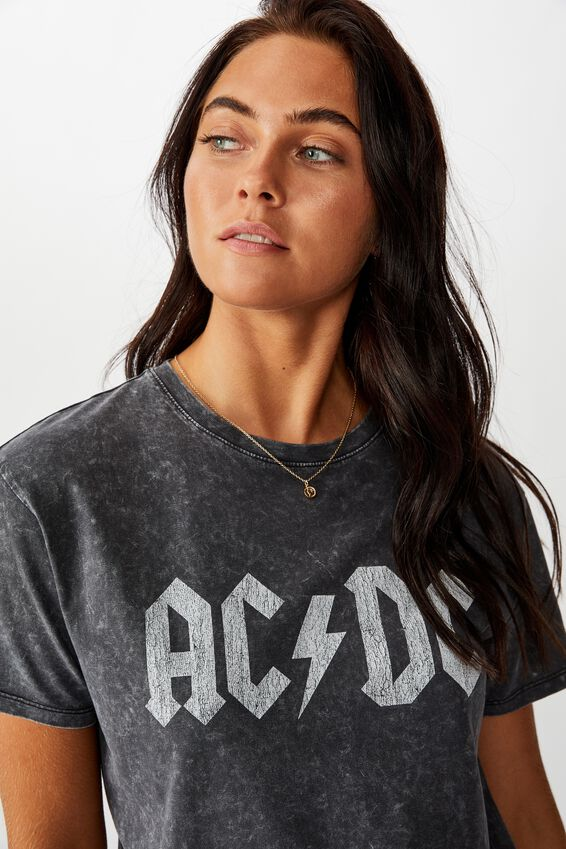 ACDC Tee, WASHED BLACK LCN PER ACDC DISTRESSED LOGO