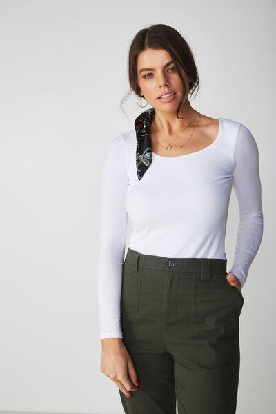 Basic Long Sleeve Round Neck Top, WHITE