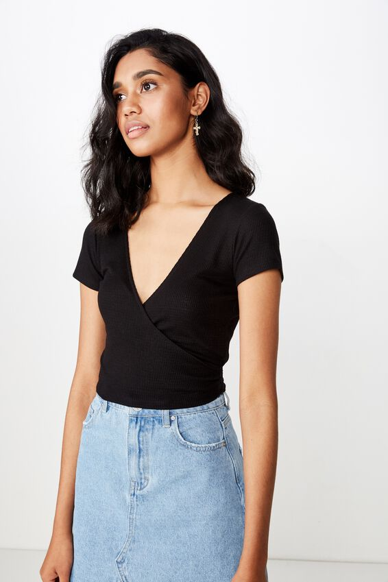 Kelly S/S Wrap Top, BLACK