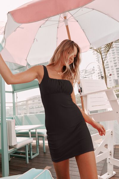 Hannah Ruched Neck Mini Dress, BLACK