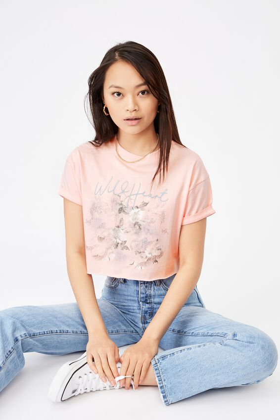 Tamara Printed Crop T Shirt, FAIRYTALE PINK/WILD HEART FLORAL DRAGON