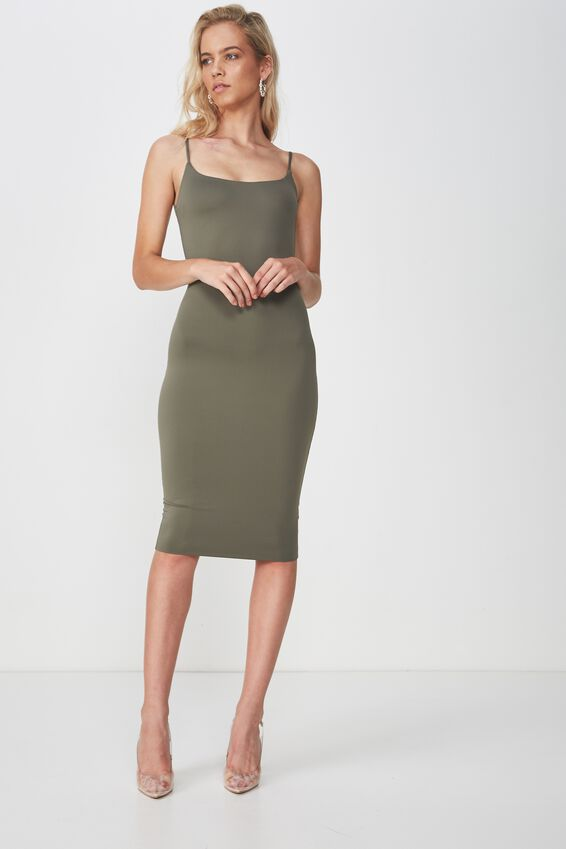 Party Thin Strap Midi Dress, GUM LEAF KHAKI