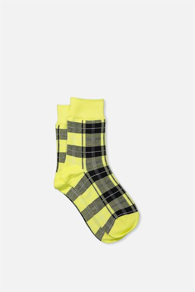90S Check Socks, BABY YELLOW HERITAGE
