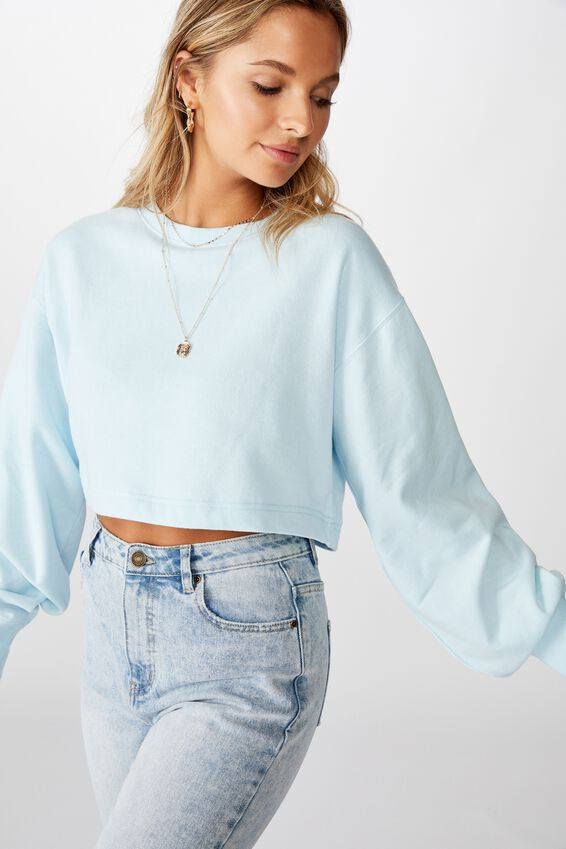 Crop Crew Neck Jumper, FRESH PALE BLUE