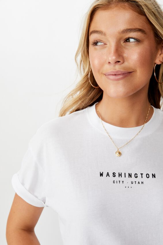 Tamara Graphic Crop Tee, WHITE/WASHINGTON