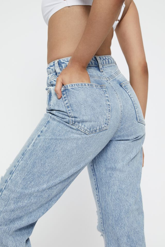 High Rise Straight Ripped Jean, CRYSTAL BLUE RIPPED
