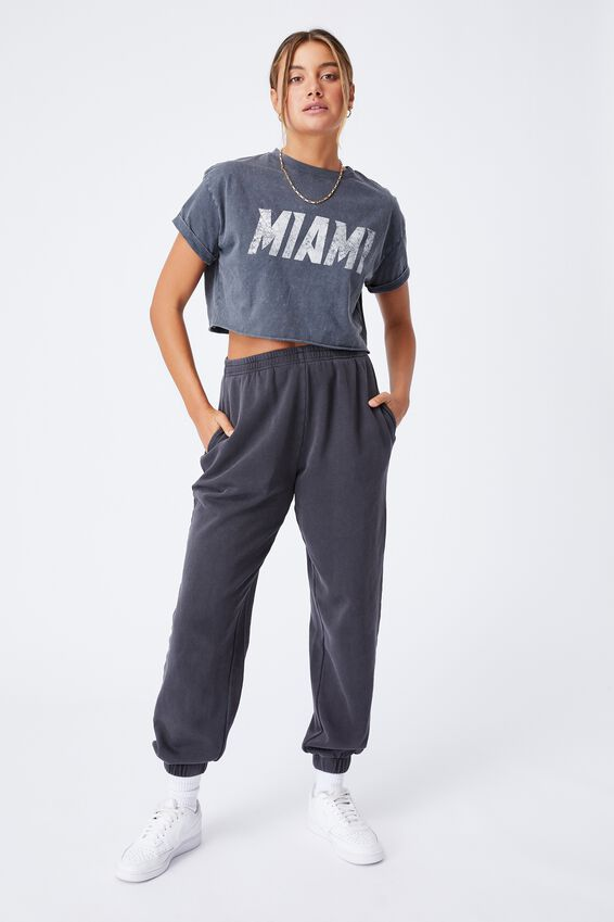 Tamara Printed Crop T Shirt, VINTAGE WASH GRANITE GREY/MIAMI