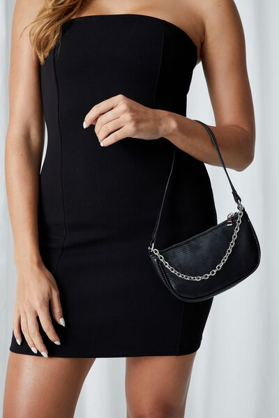 Abbey Chain Textured Shoulder Bag, BLACK LIZARD