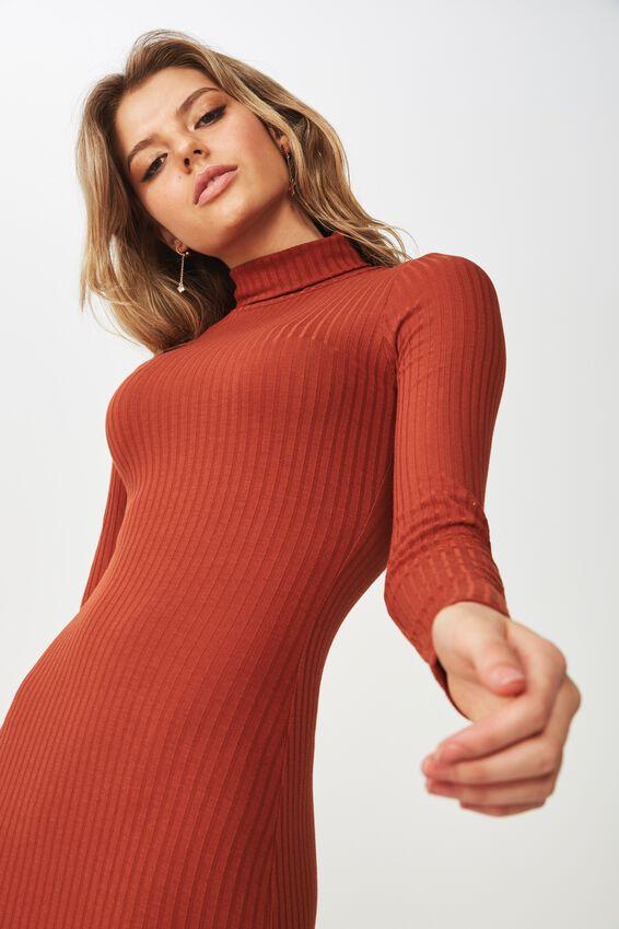 Kylie Roll Neck Rib Dress, NUTMEG