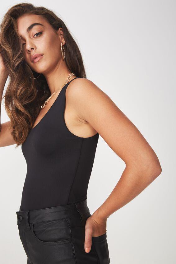 Party One Shoulder Bodysuit, BLACK