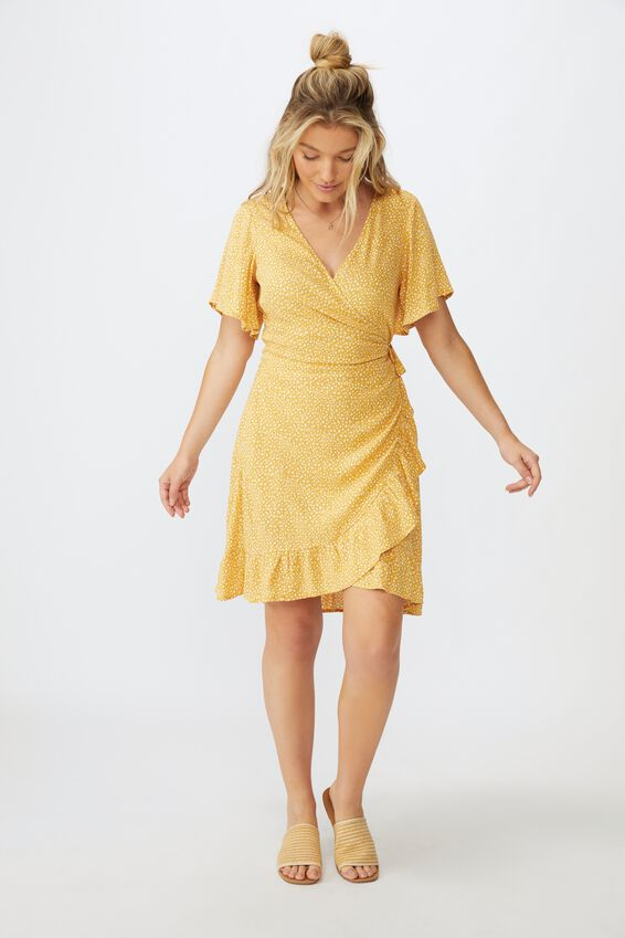 Emily Wrap Dress, SCRIBBLE SPOT MUSTARD