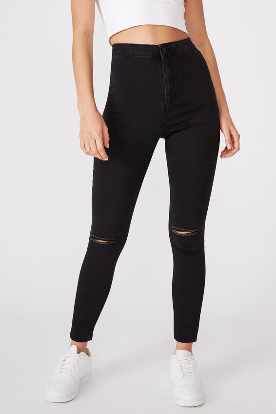 Super Skinny Sky High Ripped Jean, WASHED BLACK KNEE RIP