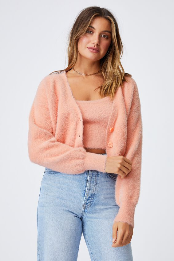 Melissa Fluffy Cardigan Co Ord, PEACHY ROSE