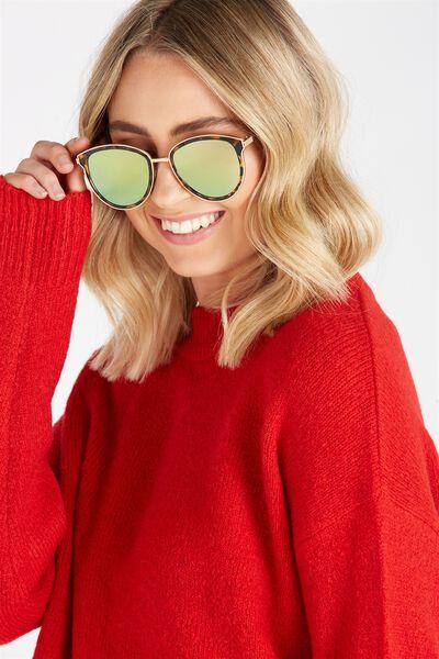 Trixie Metal Trim Sunglasses, TORT GOLD