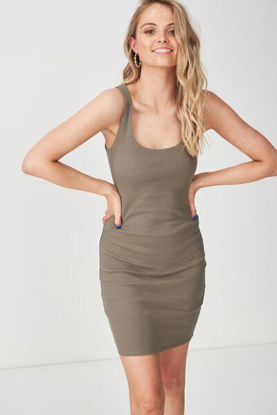 Rib Bodycon Mini Dress, GUM LEAF KHAKI