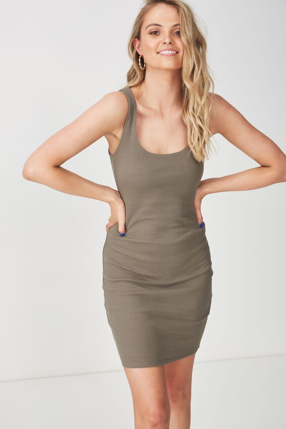 Rib Bodycon Mini Dress, GUM LEAF KHAKI